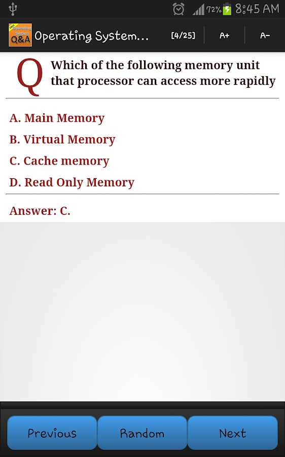 Please help!!! easy question on memory.?