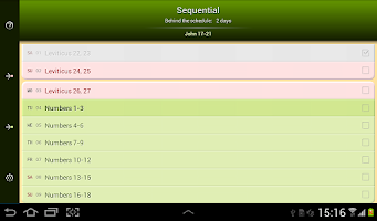 Screenshot of Bible Reading Schedule