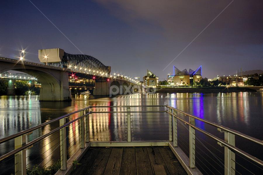 Chattanooga Riverfront by Jermaine Pollard - Landscapes Waterscapes ( lights, chattanooga, waterscape, aquarium, riverfront, city )