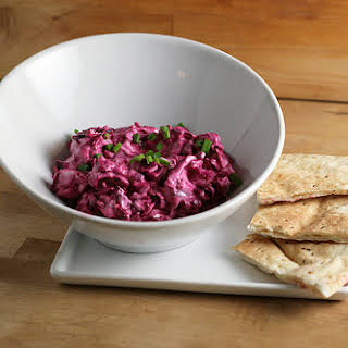 An American Patzaria - Creamy Beet Spread with Blue Cheese and Bacon.