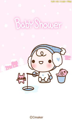 ベビーシャワーのピンクの冬カカオトークテーマ
