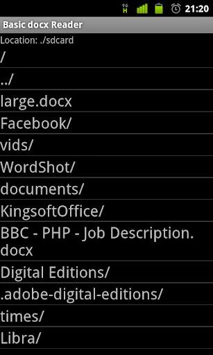 Basic docx Reader Screenshot