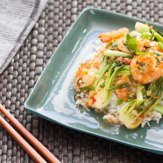 Pan-Fried Orange Shrimp with Sautéed Scallions & Bok Choy over Jasmine Rice