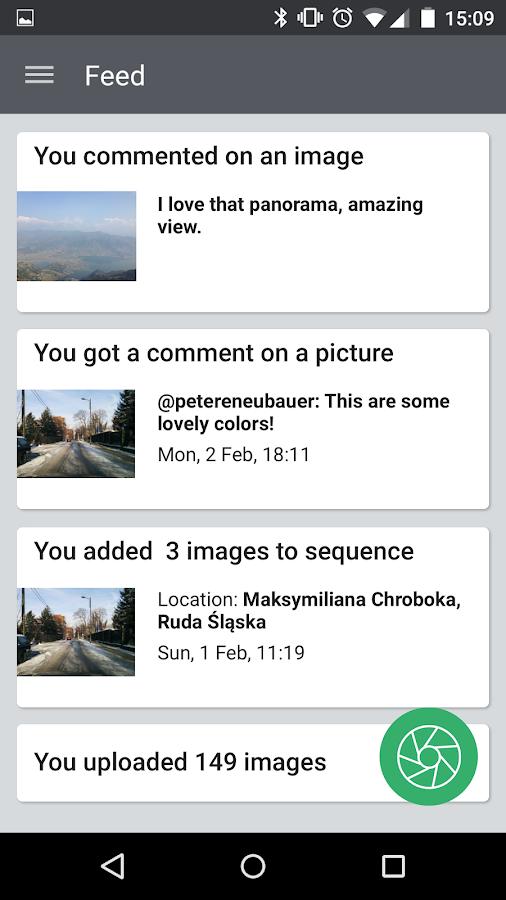Ventana Mapillary mostrando diferentes rutas cercanas que han sido grabadas y compartidas