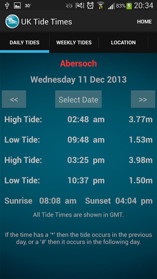UK Tide Times- screenshot