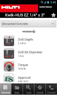 Hilti US/CA Anchor Selector - screenshot thumbnail