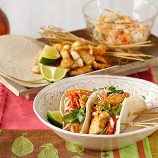 Mini Fish Tacos with Rainbow Slaw.