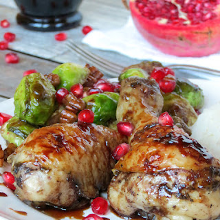 Pomegranate Glazed Chicken Drumsticks And Brussels Sprouts
