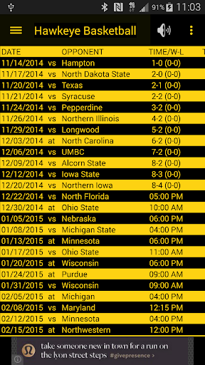 Hawkeye Basketball Schedule