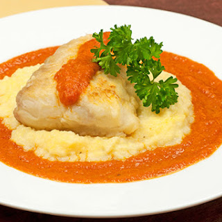 Pan-Roasted Halibut with Tomato-Butter Sauce.