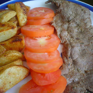 Mustard Steak with Browned Potatoes.