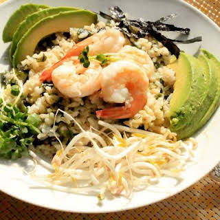 Brown Rice Bowl With Wakame, Shrimp, and Sprouts.