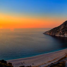 Sunset At Myrtos Beach... by Giannis Paraschou - Landscapes Beaches ( sunset myrtos beach kefalonia, myrtos beach kefalonia, kefalonia, myrtos,  )