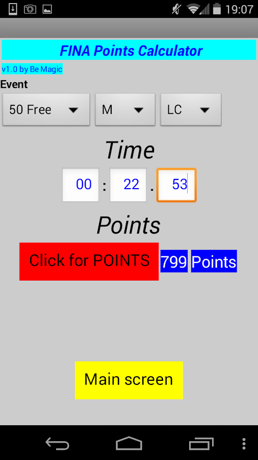 FINA points & stopwatch- screenshot