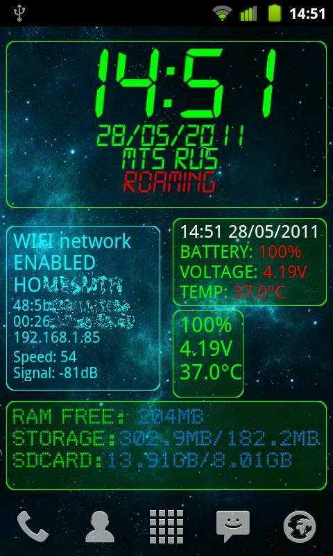 System Info widget- screenshot