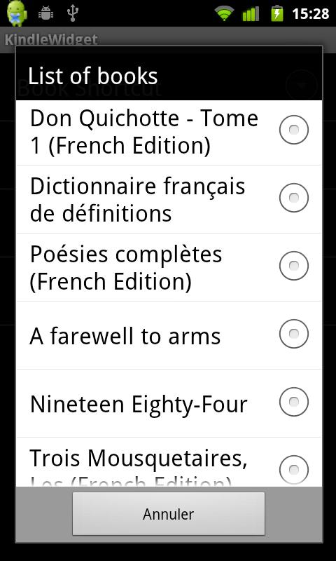 Kindle Widget - screenshot