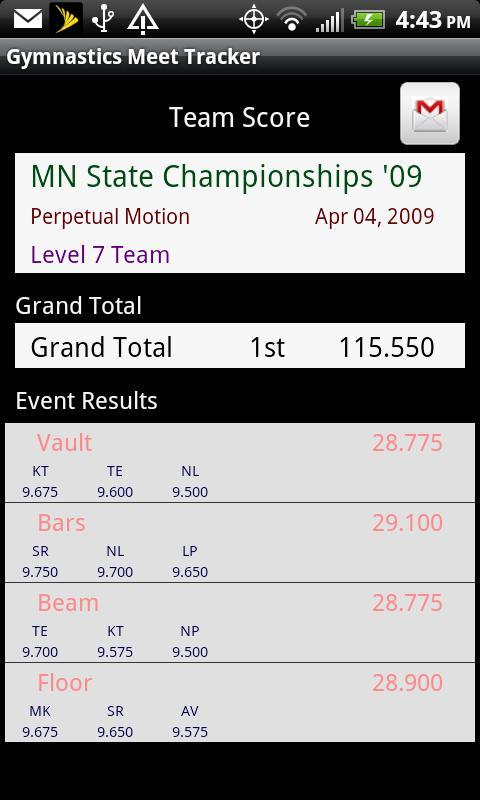 Gymnastics Meet Tracker- screenshot