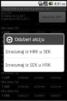 Screenshot of HNB exchange rate