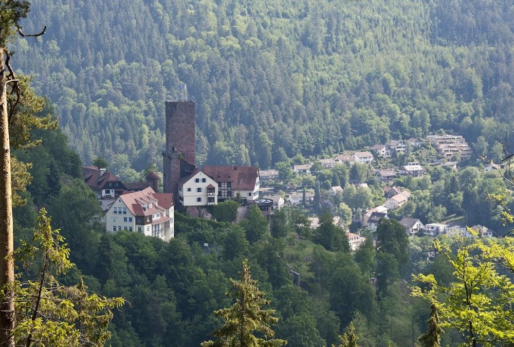 Du siehst die Burg Bad Liebenzell, die laut einer Sage früher dem Riesen Erkinger gehörte.