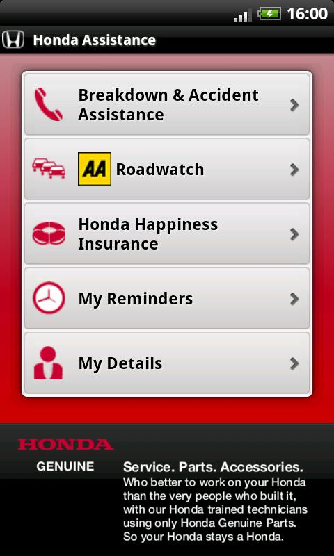 Honda Breakdown Assistance - screenshot
