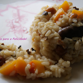 Pumpkin Risotto with Truffles and Mushrooms.