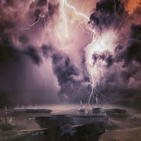 Bermuda by Karazy Shooke - Digital Art Places ( lightning, desert, died, ship, skeleton, bermuda, place )