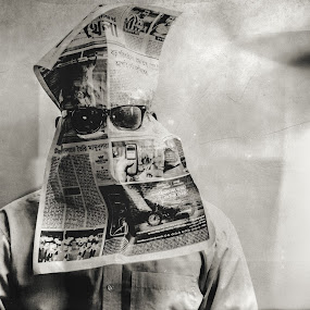 Mr. Anonymous by Mahmudul Alam Zisan - Black & White Portraits & People ( film, face, sepia, old, glasses, indoor, black and white, vintage, #scratch, paper, fine art, 50mm, d3200, self portrait, portrait, dhaka, #anonymous, bangladesh, #wet plate, sunglass, grain, #dust, nikon,  )