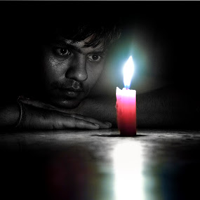 Focus by Sandeep Nagar - Digital Art People ( black and white, candel, dark, focus, light, people, selective color, pwc )