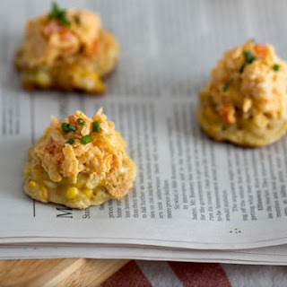 Grilled Corn Fritters With Jarlsberg Pimento Cheese.