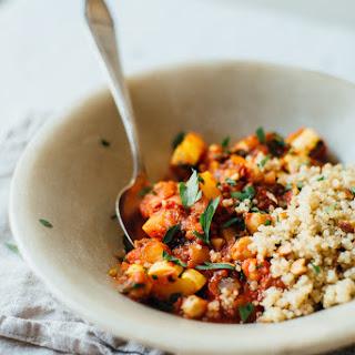 Spicy Chickpea Stew And Quinoa Pilaf W/ Golden Raisins + Almonds