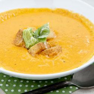 Roasted Tomato and Pepper Soup with Pesto Cream Cheese