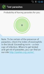 Test for parasites screenshot