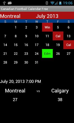 Canadian Football Calendar