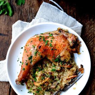 "Roast Chicken on Wild Mushroom Sticky Rice ""Risotto"""