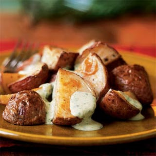 Roasted Potatoes with Tangy Watercress Sauce.