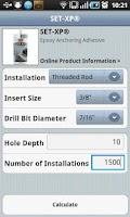 Screenshot of Adhesive Cartridge Estimator