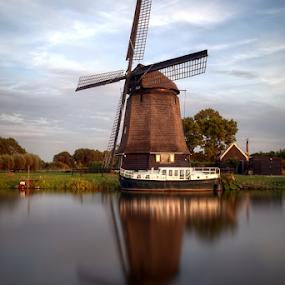 Historic windmill Alkmaar,NL by Mike Bing - Buildings & Architecture Public & Historical ( water, alkmaar, hoornse vaart, holland, long exposure, boat, windmill, netherlands,  )