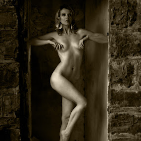 Threshold by Ruari Plint - Nudes & Boudoir Artistic Nude ( sepia, implied nude, nude, muscle tone, female, ruin, fine art, blond, shadows,  )
