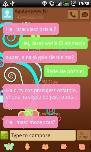 GO SMS Pastel Chocolate Theme