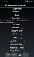 Screenshot of RPG Character Generator
