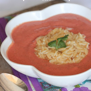 Skinny Tomato Soup with Cheesy Orzo.