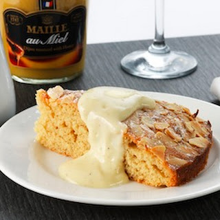 Almond sponge cake with Honey Mustard Crème Anglaise
