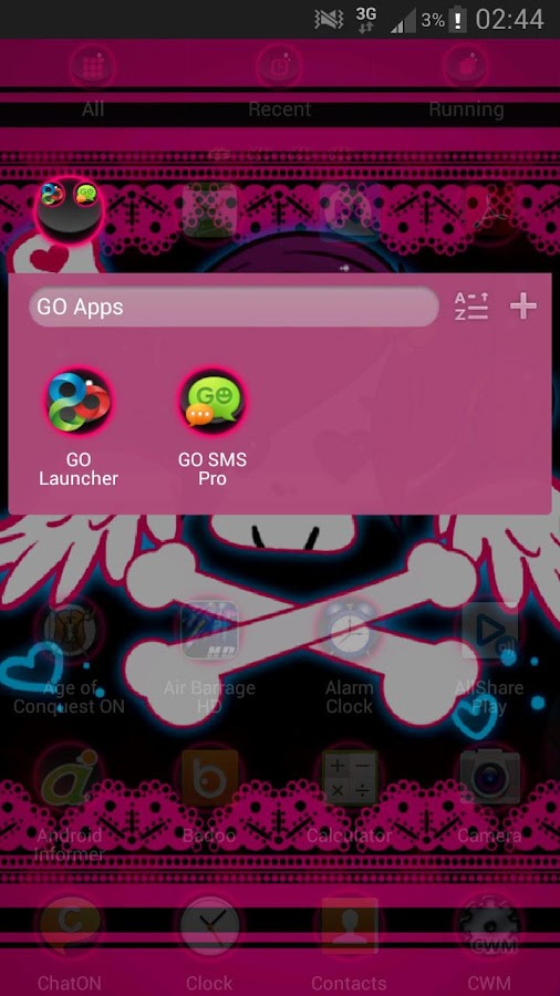 GO Launcher EX Theme Emo Pink - screenshot