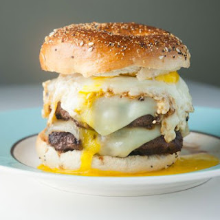 Double Swiss Cheeseburger with Fried Egg on Everything Bagel
