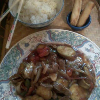 Garlic Beef and Eggplant with Oyster Sauce.