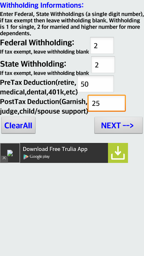 withholding paycheck calculator