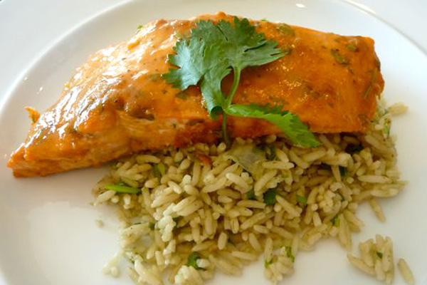 Red Chili and Peanut Butter Glazed Salmon